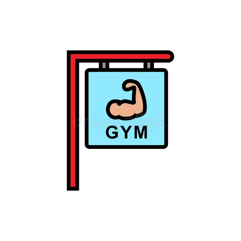 Gym fitness center sign icon. hanging board with hand muscle symbol and text for bodybuilder place illustration. simple. Graphic. eps 10 vector illustration