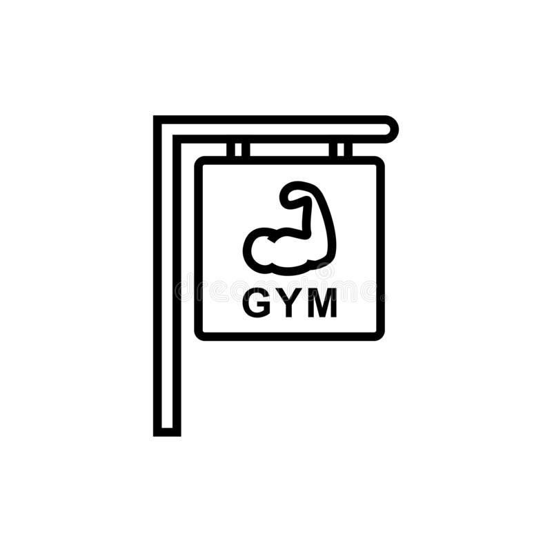 Gym fitness center sign icon. hanging board with hand muscle symbol and text for bodybuilder place illustration. simple monoline. Graphic. eps 10 stock illustration