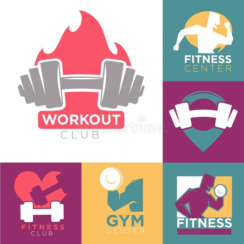 Gym and fitness club or workout sport center logo templates set. Vector symbols of muscle man with barbell and dumbbell running on treadmill or outdoors with stock illustration