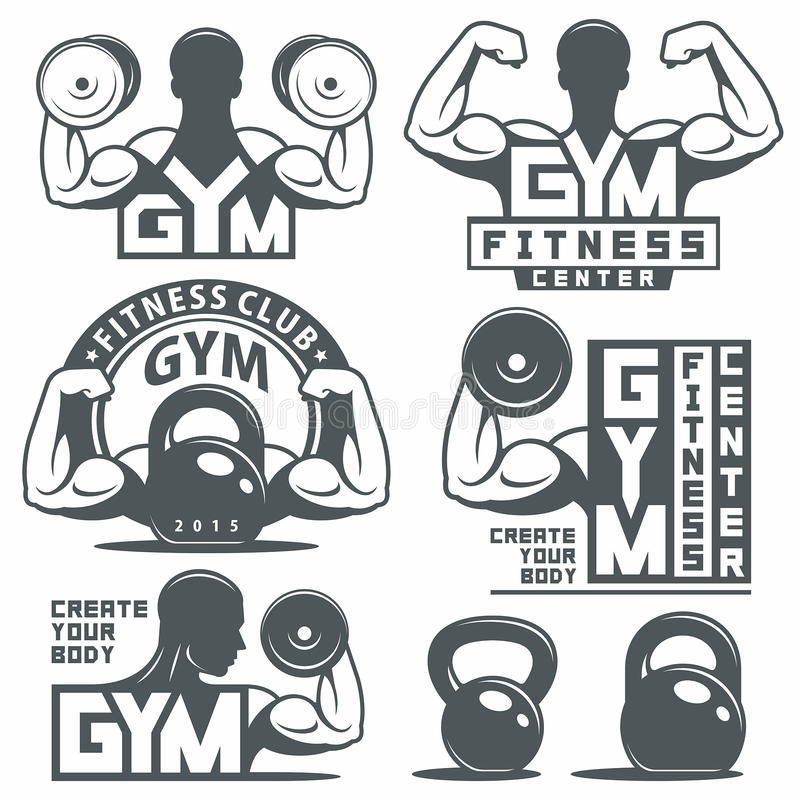 Gym and Fitness emblems royalty free illustration