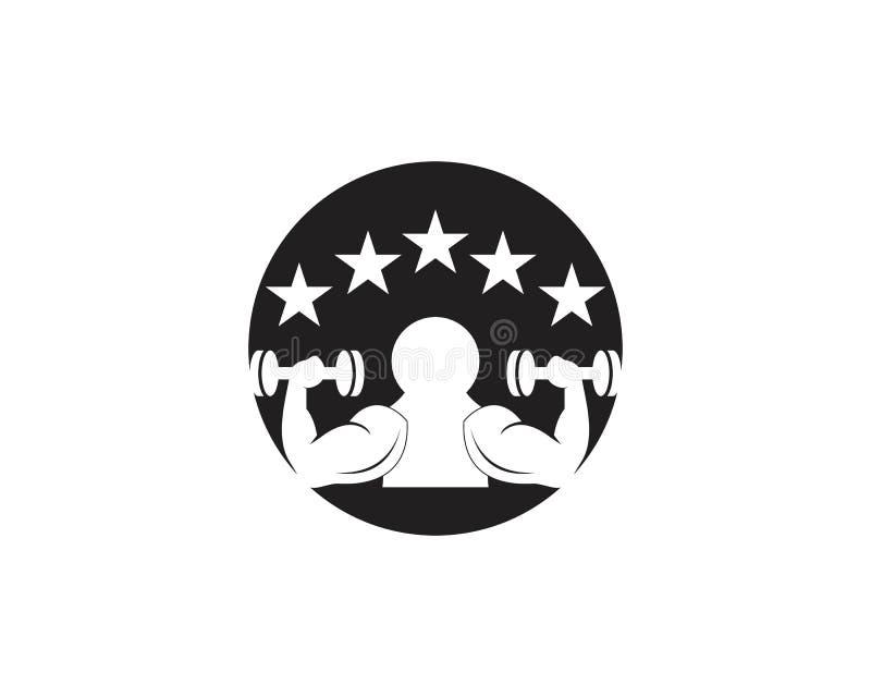 Gym,fitness icon logo  illustration. Man model muscular training male winner builder strong sportsman chest boy power bodybuilding symbol arm element muscle royalty free illustration