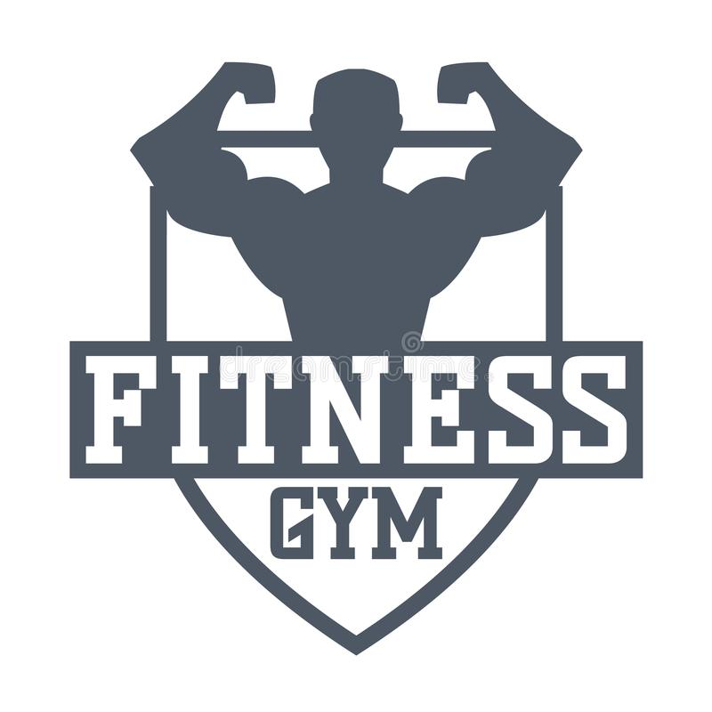 Gym fitness logo vector badge. Gym fitness emblem, label, badge logo and design element. Gym fitness logo muscle body weight bodybuilding. Strong people club stock illustration