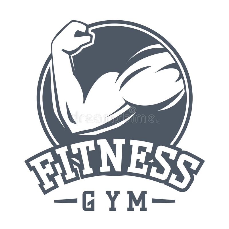Gym fitness logo vector badge. Gym fitness emblem, label, badge logo and design element. Gym fitness logo muscle body weight bodybuilding. Strong people club vector illustration