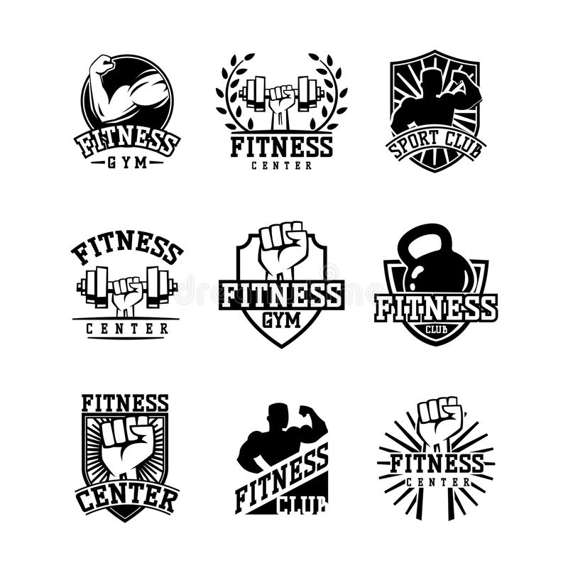 Gym fitness logo vector badge. Gym fitness emblem, label, badge logo and design element. Gym fitness logo muscle body weight bodybuilding. Strong people club royalty free illustration
