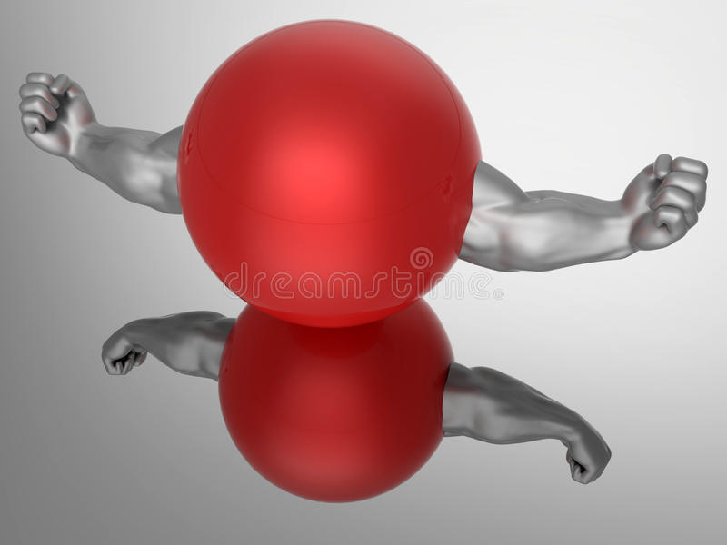 Gym and fitness reflections. 3D rendered illustration of a sphere with two muscular arms. The composition is placed over a reflective metallic background. The royalty free illustration