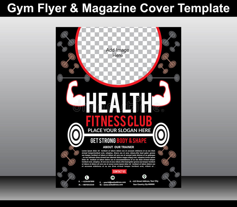 Gym Flyer  Magazine Cover Template Stock Vector  Illustration Of