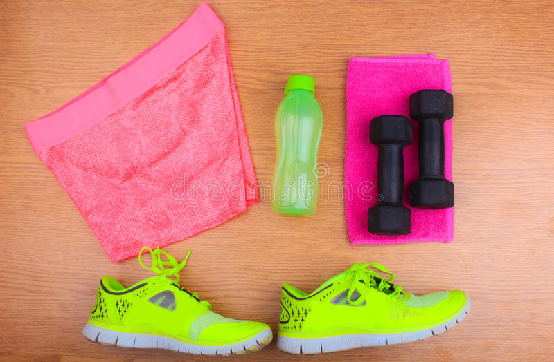Gym Gear, gym clothes and sports wear kit royalty free stock photo