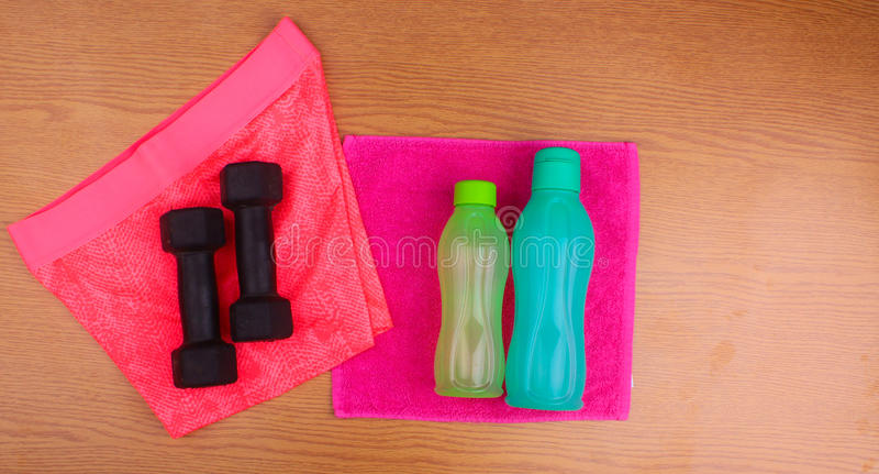 Gym Gear, gym clothes and sports wear kit stock image