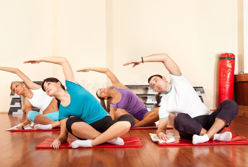 Download Gym group stretching stock photo. Image of healthy, horizontal - 26437142