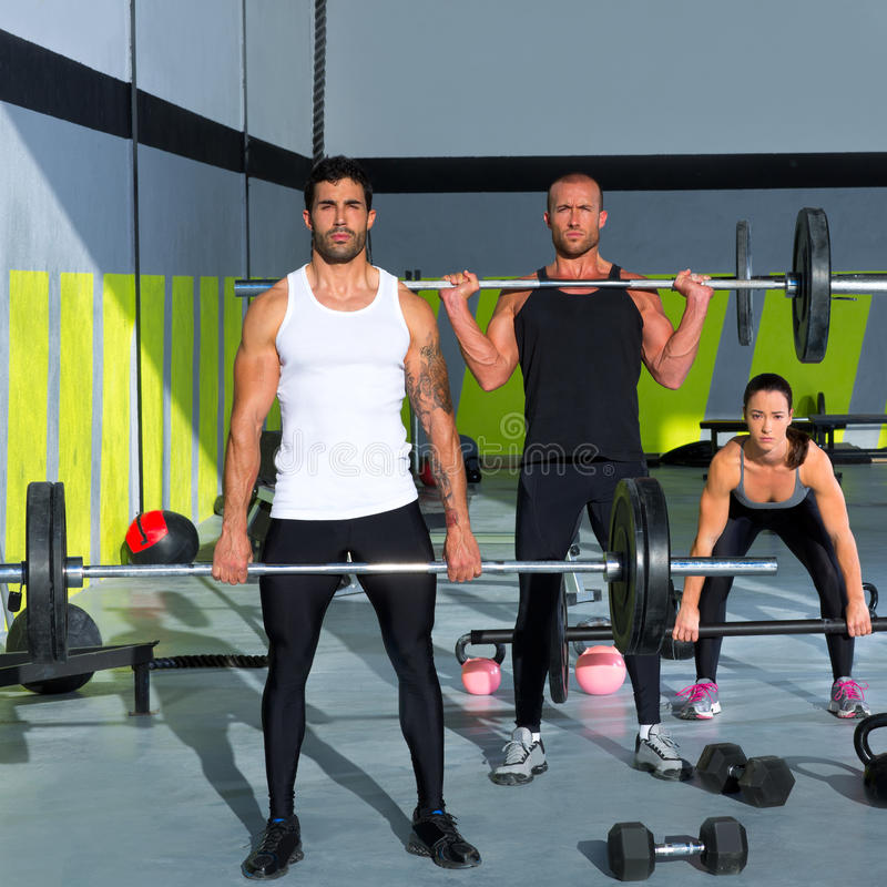 Download Gym Group With Weight Lifting Bar Crossfit Workout Stock Image - Image: 28359281