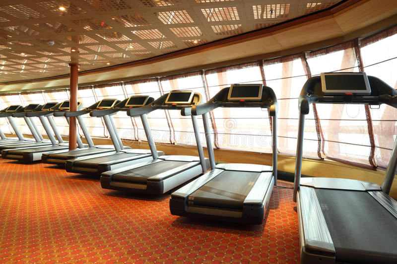 Gym hall with treadmills in cruise ship royalty free stock photos