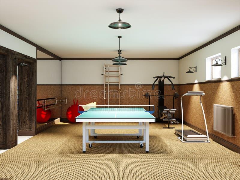 Gym home no porão com equipamento e tênis de mesa da aptidão foto de stock