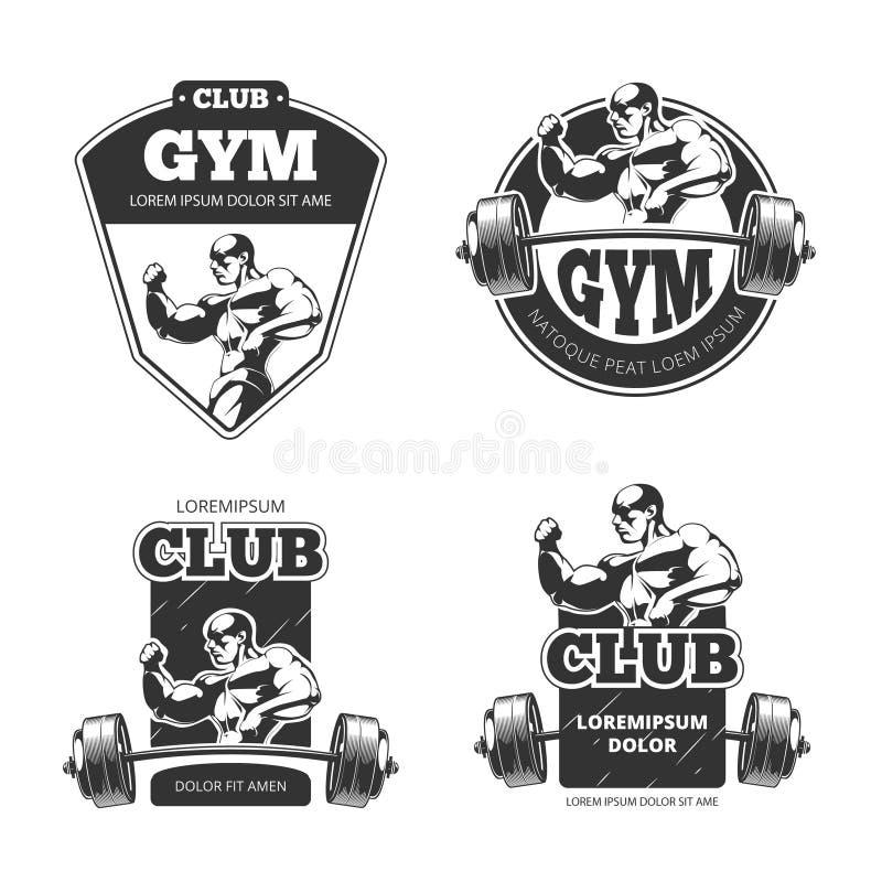 Gym i sprawność fizyczna wektorowi emblematy, etykietki, odznaki, logowie royalty ilustracja