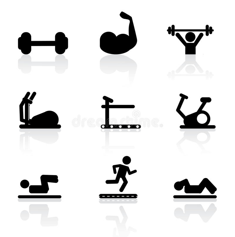 Download Gym icons stock vector. Image of lifting, band, machine - 31940243