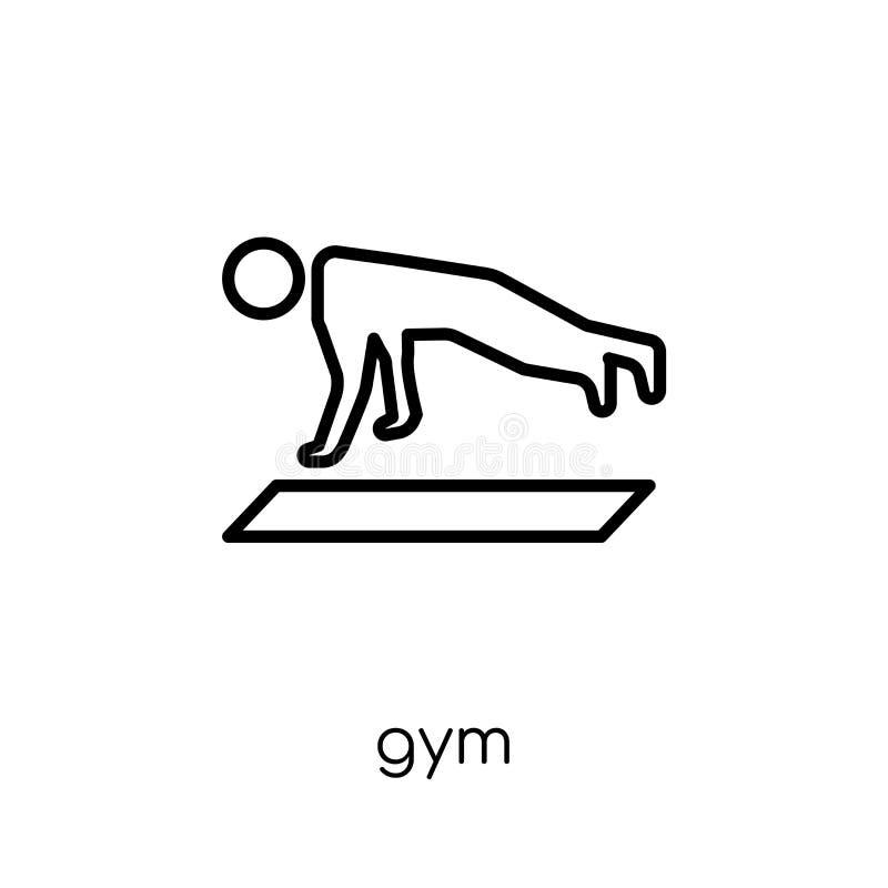 Gym ikona Modna nowożytna płaska liniowa wektorowa Gym ikona na białym bac royalty ilustracja