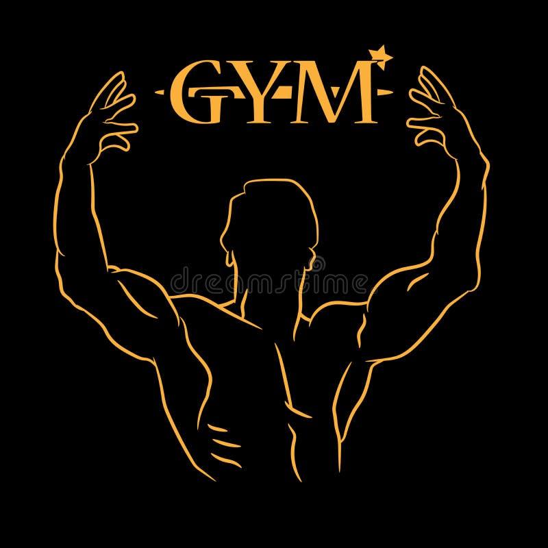 Gym ikona na czarnym tle ilustracji