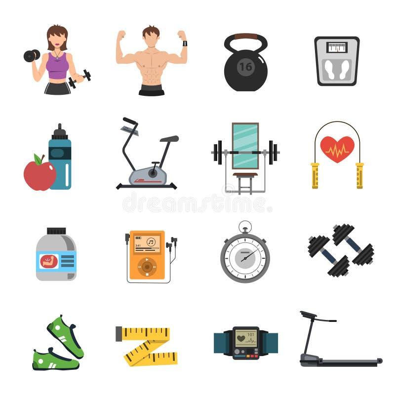 Gym ikony mieszkania set ilustracja wektor