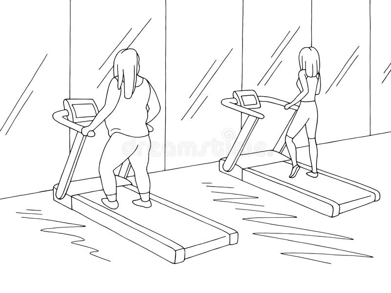 Gym interior graphic black white sketch illustration vector. Fat and thin women are workout on a treadmill royalty free illustration