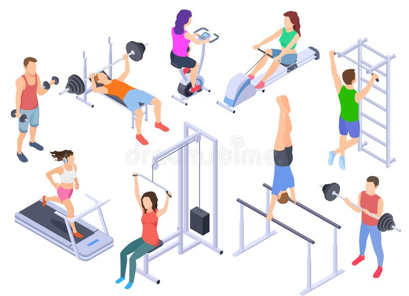 Gym isometric. Fitness people training, physical workout exercise. Young human coach, sports equipment 3d vector. Characters isolated. Illustration of fitness vector illustration