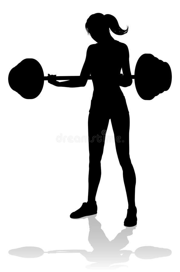 Gym kobiety sylwetki Barbell ciężary royalty ilustracja
