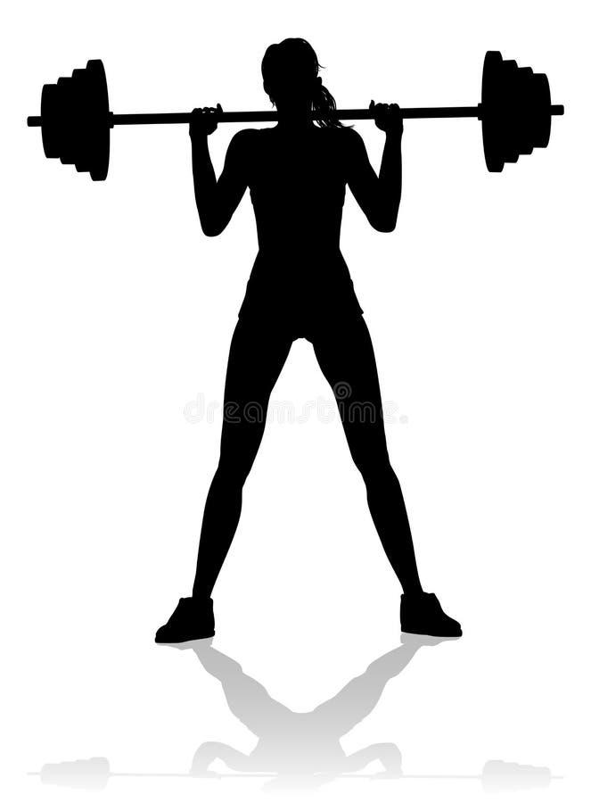 Gym kobiety sylwetki Barbell ciężary ilustracja wektor