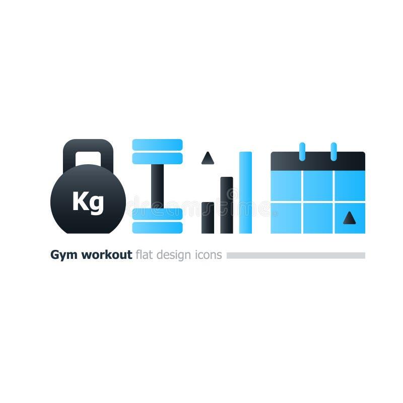Gym kursu treningowego pojęcie, kettlebell i dumbbell ikony, treningu kalendarz royalty ilustracja
