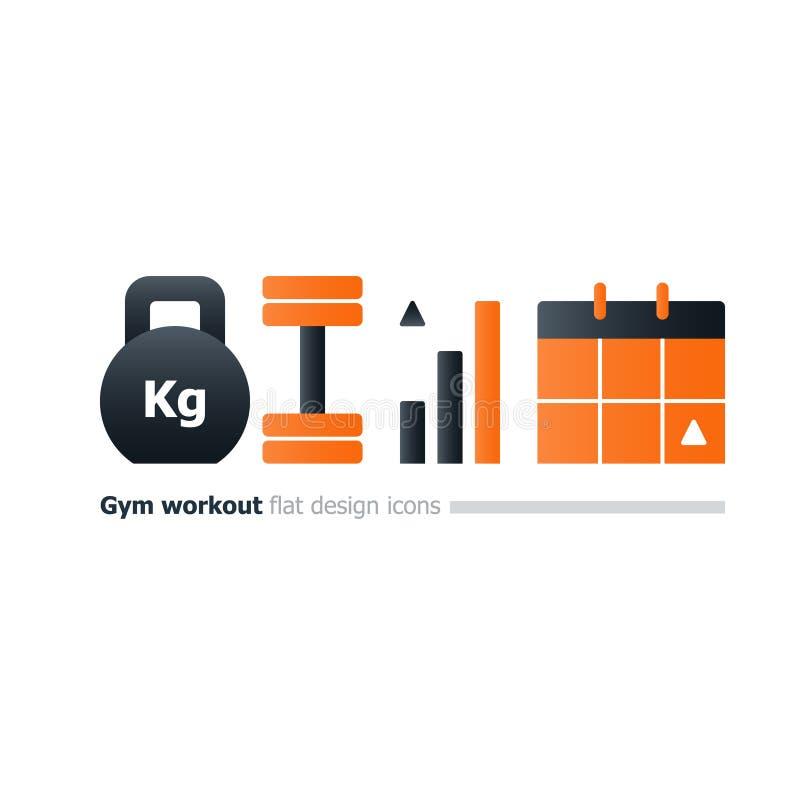 Gym kursu treningowego pojęcie, kettlebell i dumbbell ikony, treningu kalendarz ilustracji