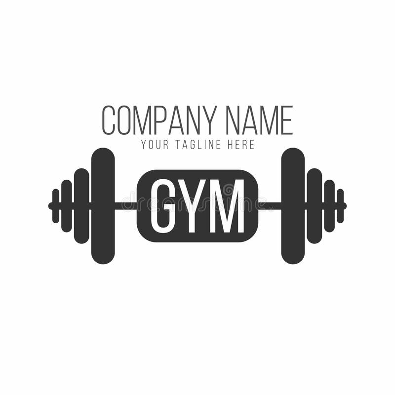 Gym logo, fitness logotype. Barbell with lettering royalty free illustration