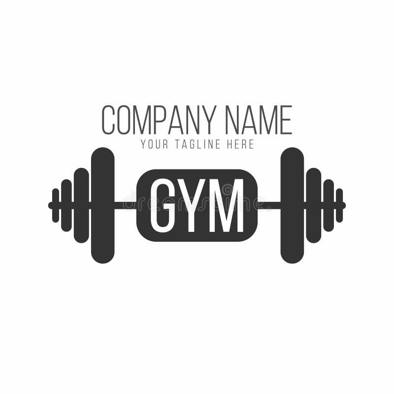 Gym logo, sprawność fizyczna logotyp Barbell z literowaniem royalty ilustracja