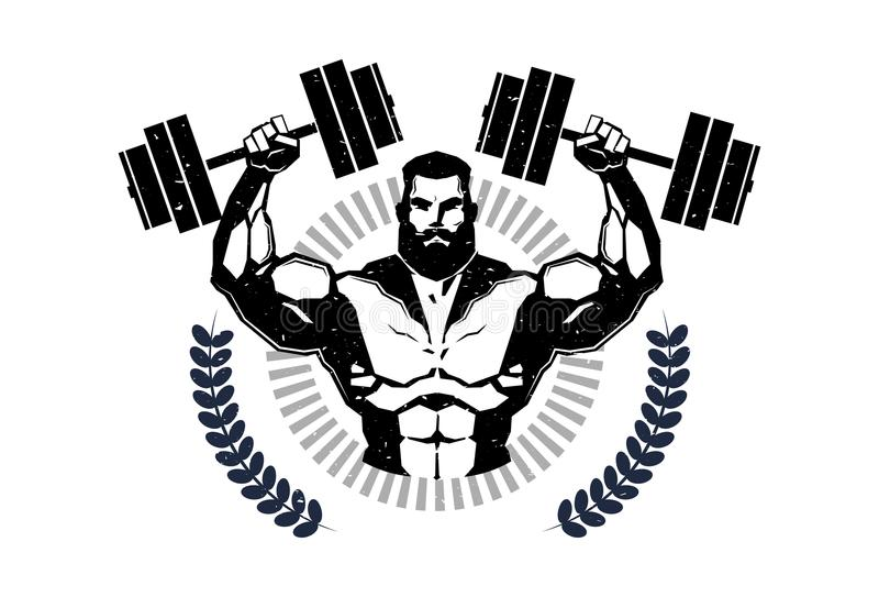 Gym Logo With Training Athletic Man Hold Barbells On White Background Emblem Of Modern Fitness Center stock illustration