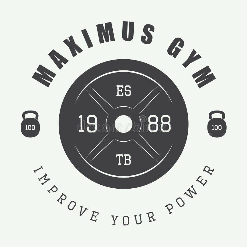 Gym logo w rocznika stylu również zwrócić corel ilustracji wektora ilustracji