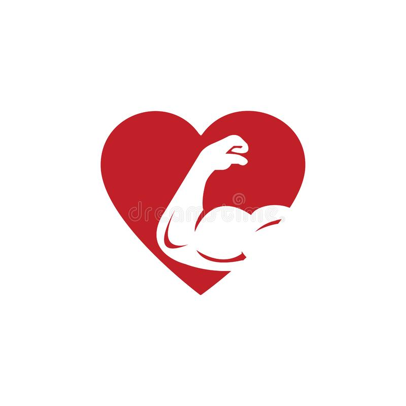 Gym lover  logo design. Bicep and heart icon logo. Fitness  logo design template. Logo template with the image of a muscular arm royalty free illustration