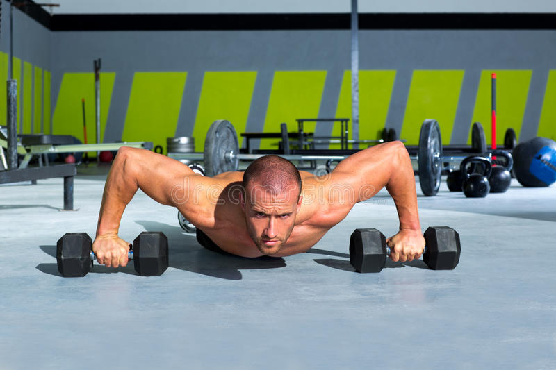 Download Gym Man Push-up Strength Pushup Exercise With Dumbbell Stock Photo - Image: 28359038