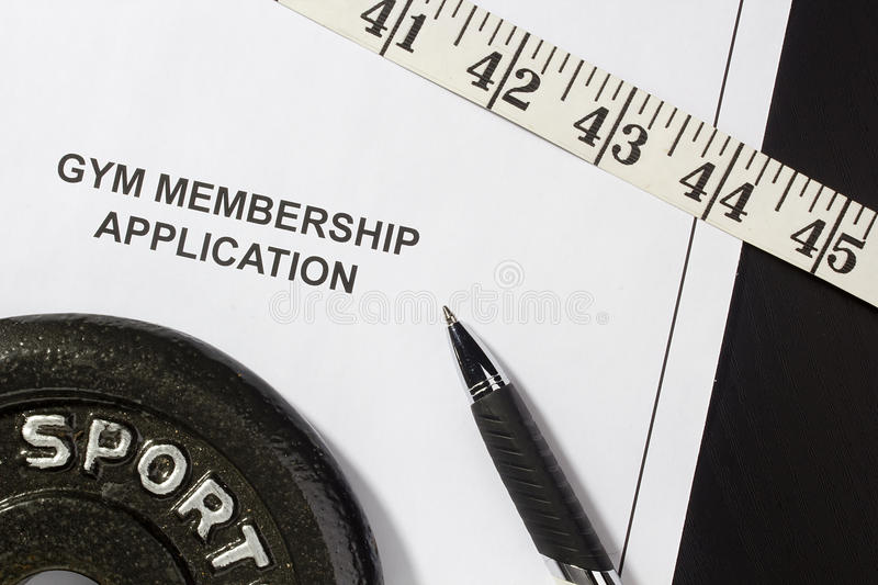Gym Membership Application. Directly above photograph of a gym membership application royalty free stock photos