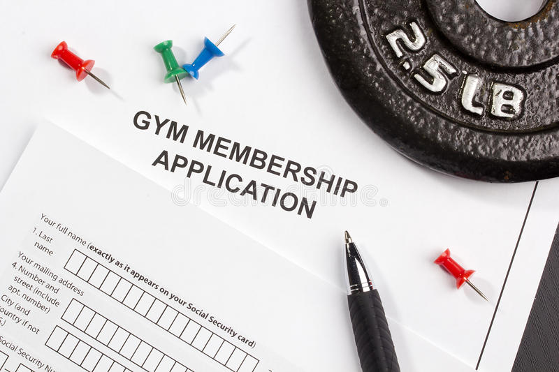 Gym Membership Application. Directly above photograph of a gym membership application royalty free stock images