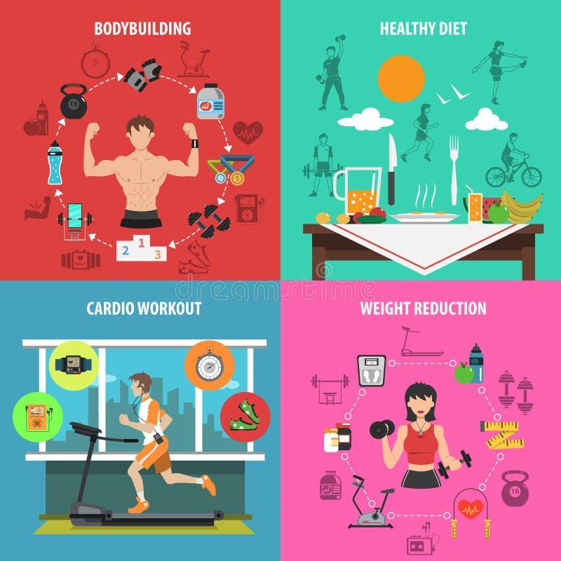 Gym mieszkania set royalty ilustracja