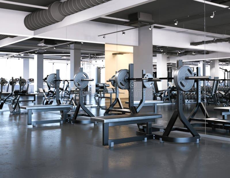 Gym moderno com imprensa de banco rendição 3d ilustração royalty free