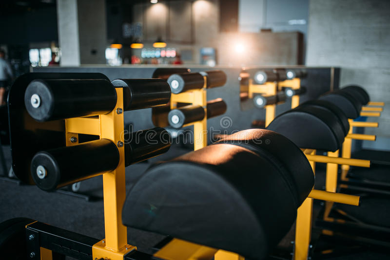 Gym nobody, empty fitness club stock images