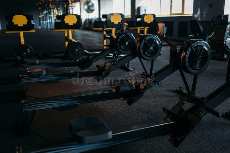 Gym nobody, empty fitness club. Training machine royalty free stock image