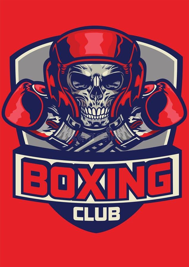 Gym odznaka bokserska czaszka ilustracji