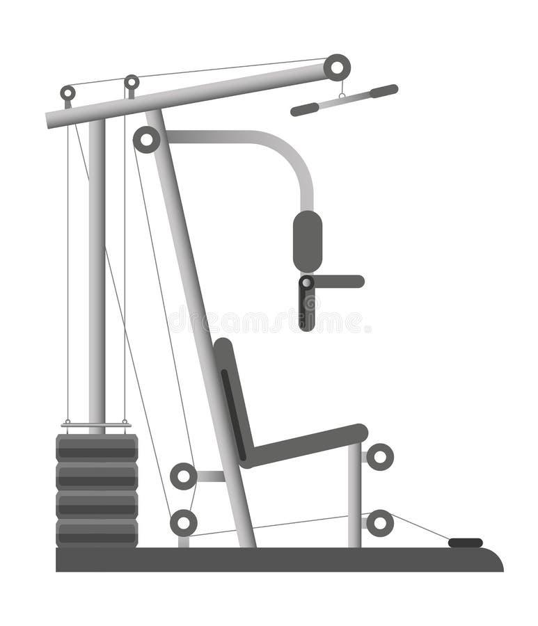 Gym ou ícone do vetor do banco de peso da máquina do instrutor do equipamento do clube de esporte da aptidão ilustração royalty free