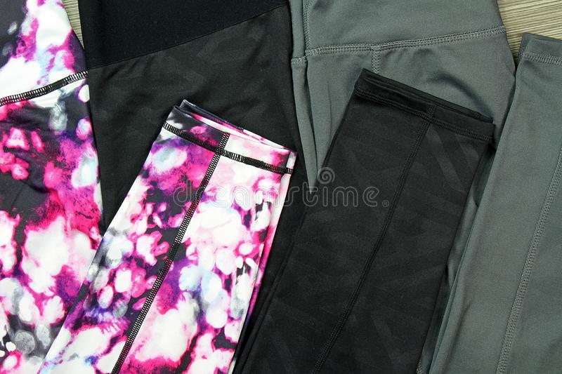 Gym outfit, Leggings for gym exercise, Sport accessories and fashion. royalty free stock photo
