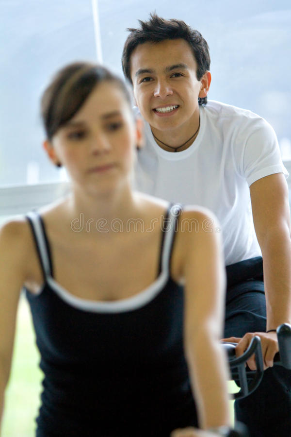 Download Gym people doing spinning stock photo. Image of girl - 12423172