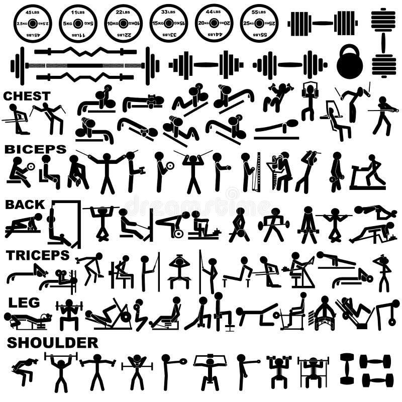 Gym piktogram ustawiający znacząco pompować ćwiczy Czerń kształty w białym tle ilustracja wektor