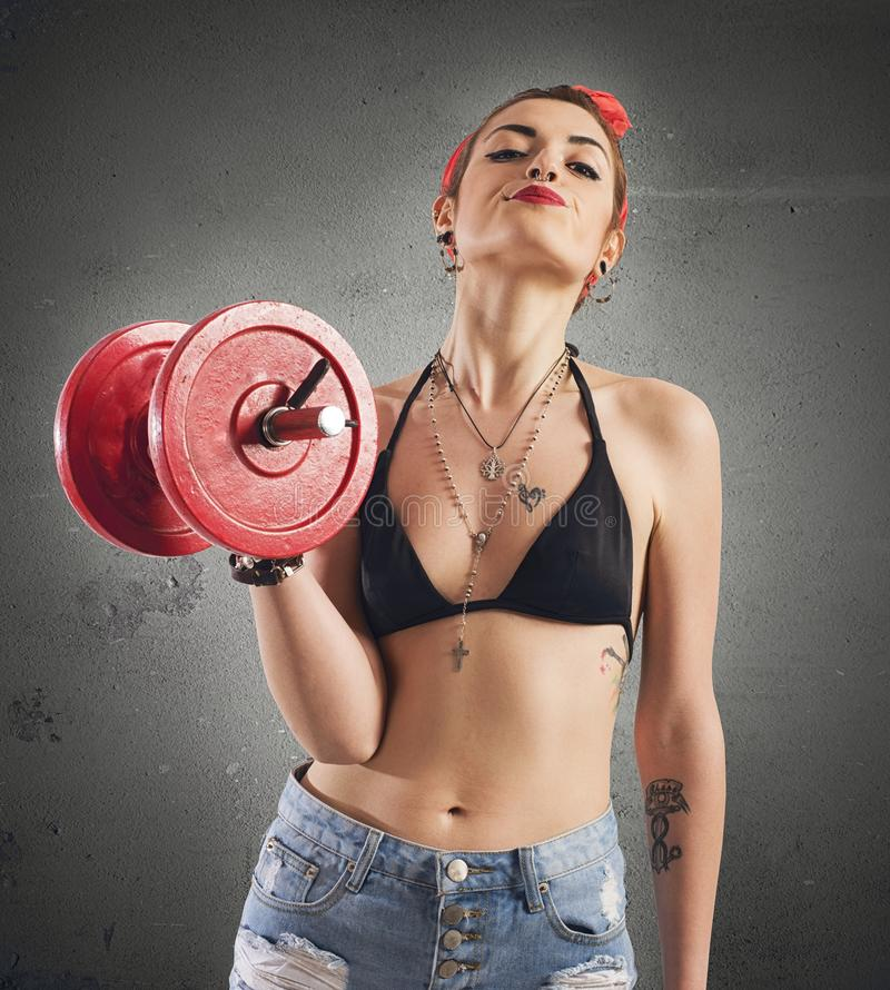 Gym pin-up stock photo