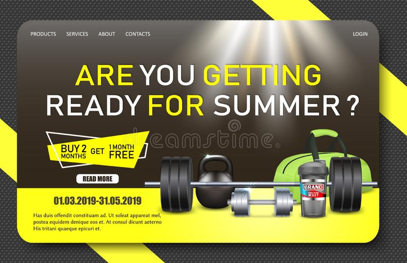 Gym promo landing page website vector template royalty free illustration