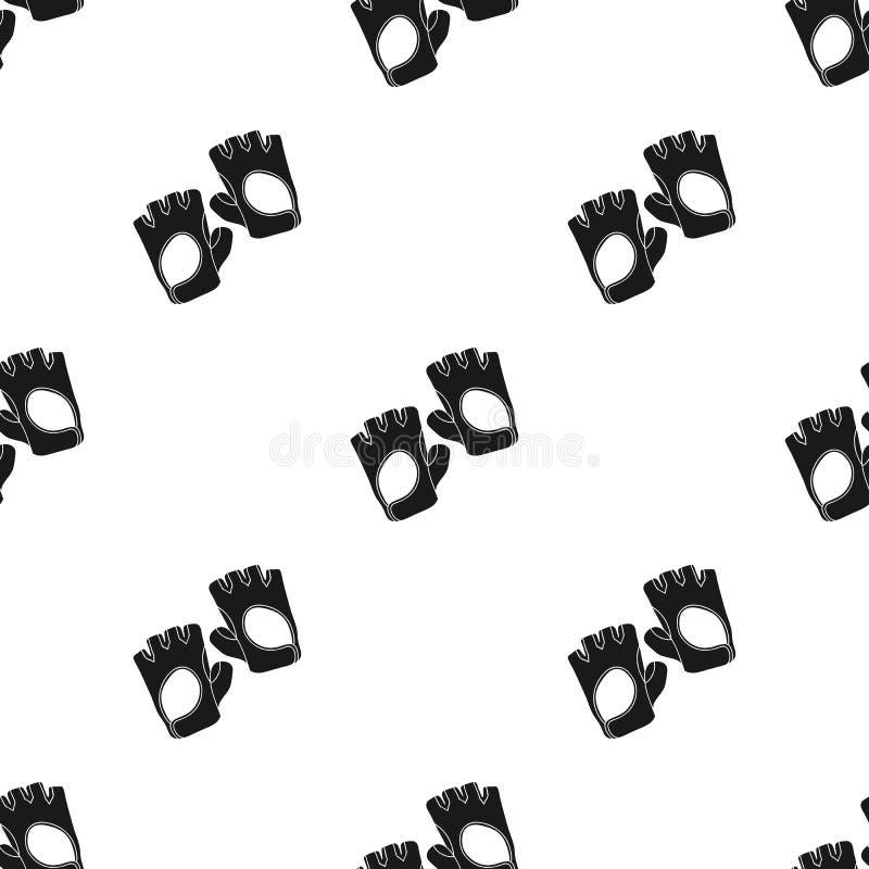 Gym rękawiczek ikona w czerń stylu odizolowywającym na białym tle Sporta i sprawności fizycznej wzoru zapasu wektoru ilustracja ilustracji
