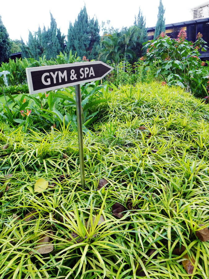 Gym & Spa signboard, tropical resort stock photography