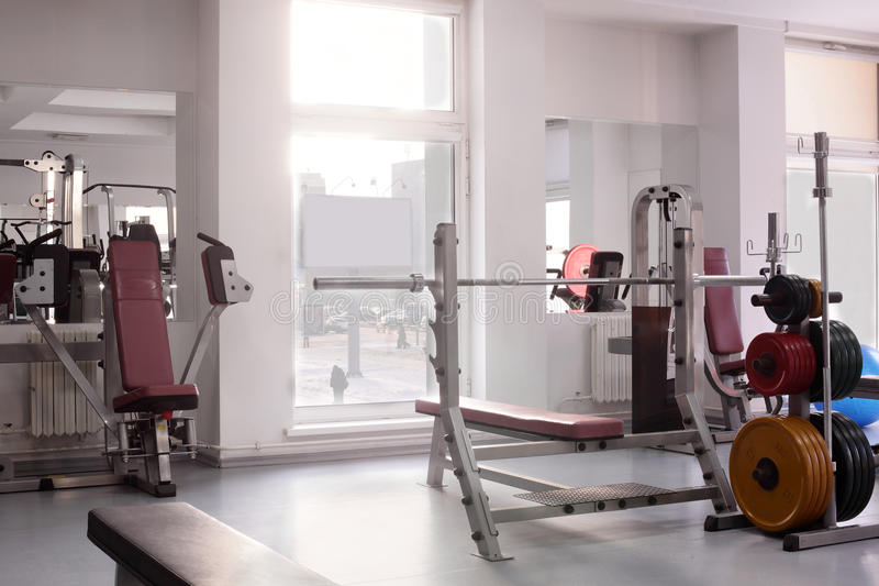 Gym with special equipment, empty stock photo
