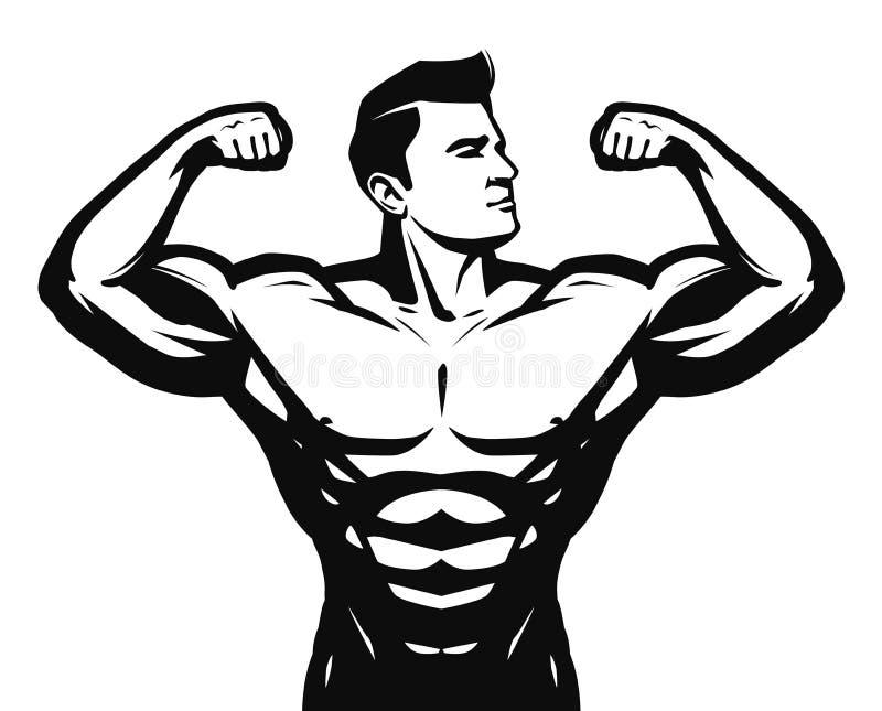 Gym, sport, bodybuilding logo lub etykietka, Silny mężczyzna z dużymi mięśniami również zwrócić corel ilustracji wektora royalty ilustracja